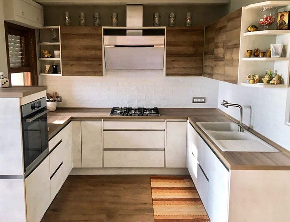 Cucina effetto cemento bianco